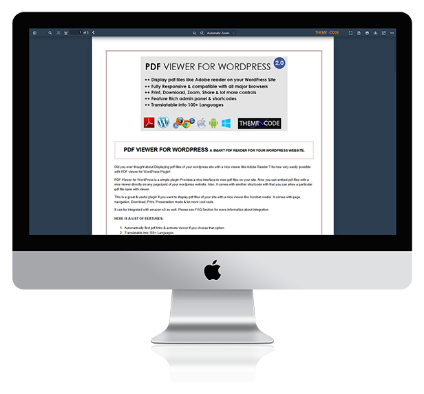PDF viewer For WordPress Preview