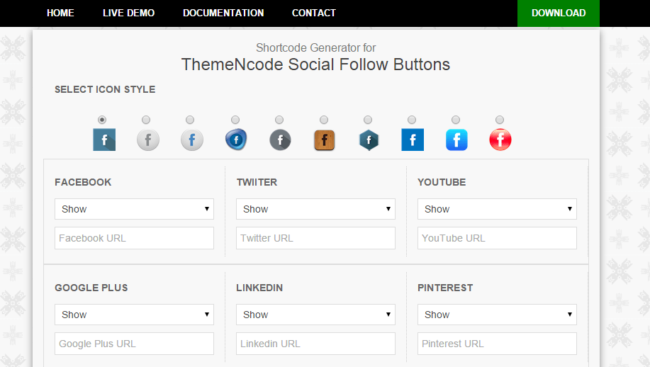 ThemeNcode Social Follow Buttons